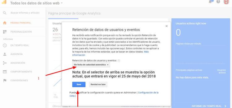 Cambio en la retención de datos de usuarios y eventos en Google analytics