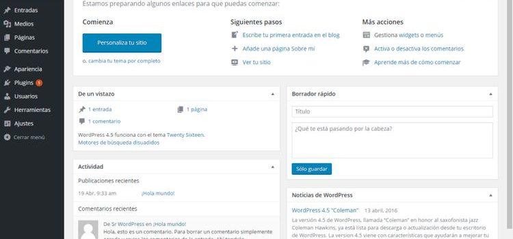 Menús de administración para WordPress